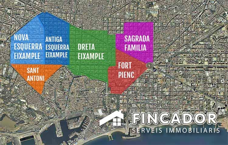 Eixample Dreta Barcelona Mapa.Fincador Especialistas En Pisos Del Ensanche